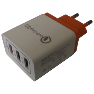 Qualcomm USB Charger QC3.0 3-Port Hub Orange